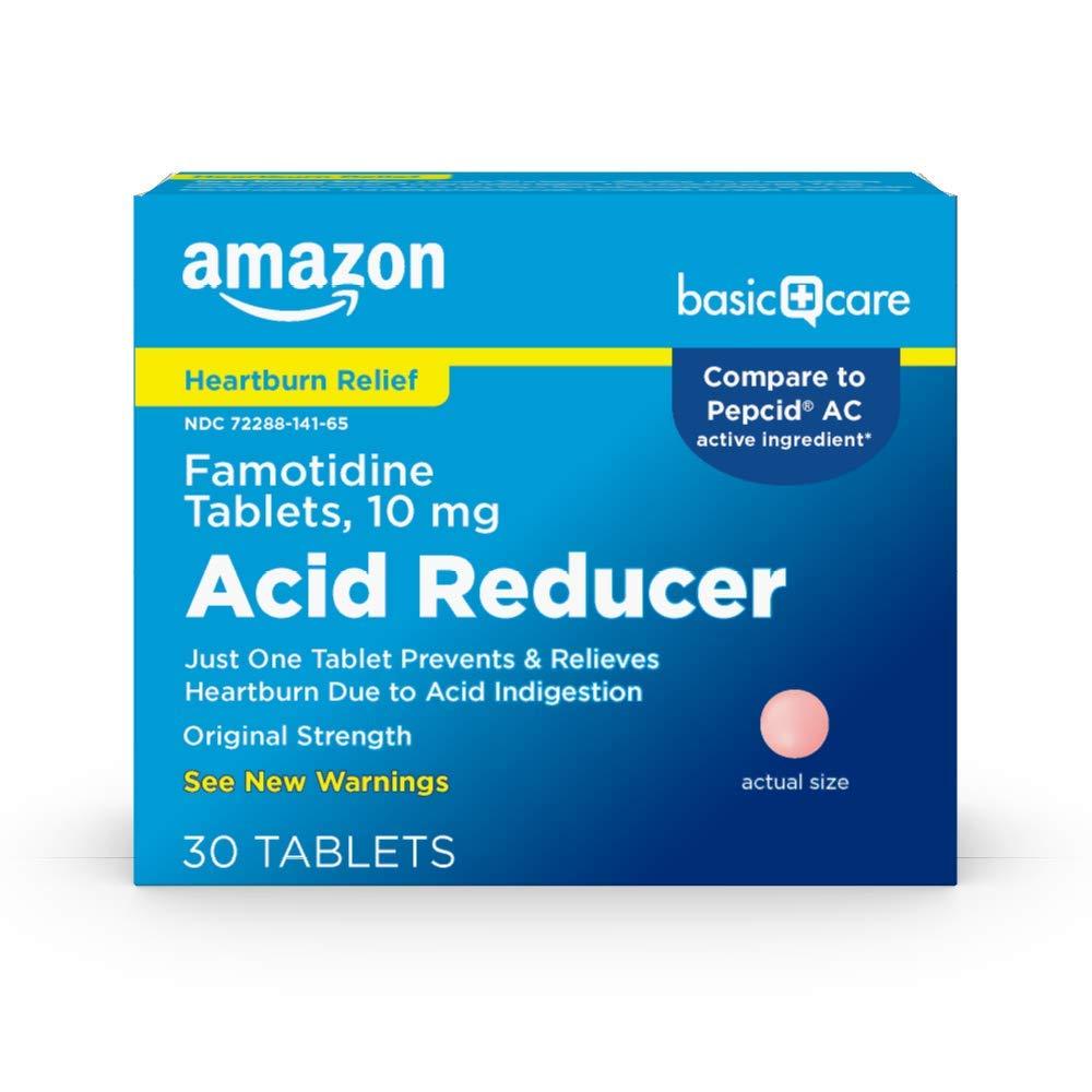Amazon Basic Care Original Strength Famotidine Tablets, 10 mg, Acid Reducer for Heartburn Relief, 30 Count