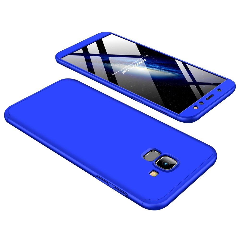 con 3 en 1 Desmontable Ultra-Delgado Anti-Ara/ñazos 360 /°complete package protection 2018 Protector de Pantalla de Vidrio Templado Azul Carcasa Galaxy A6 2018 Funda Galaxy A6