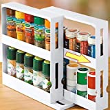 2 Tier Spice Rack Fits Up To 20 Spice Jars, Seasoning Jar Storage Rack, Kitchen Bathroom Organizer