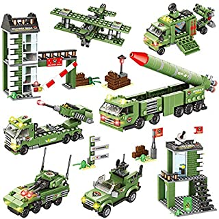 1219 Pieces City Police Station Building Kit, City Sets, Police Car Toy, Army Military Base Building Toy with Military Vehicles, Missile Truck, Tank with Storage Box for Boys and Girls 6-12