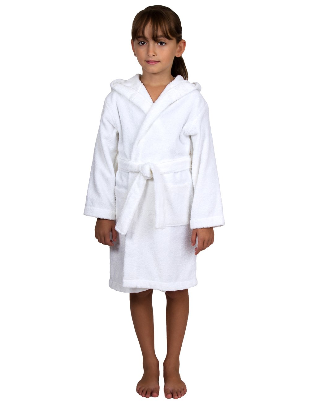 TowelSelections Big Girls Robe, Kids Hooded Cotton Terry Bathrobe Cover-up Size 8 White