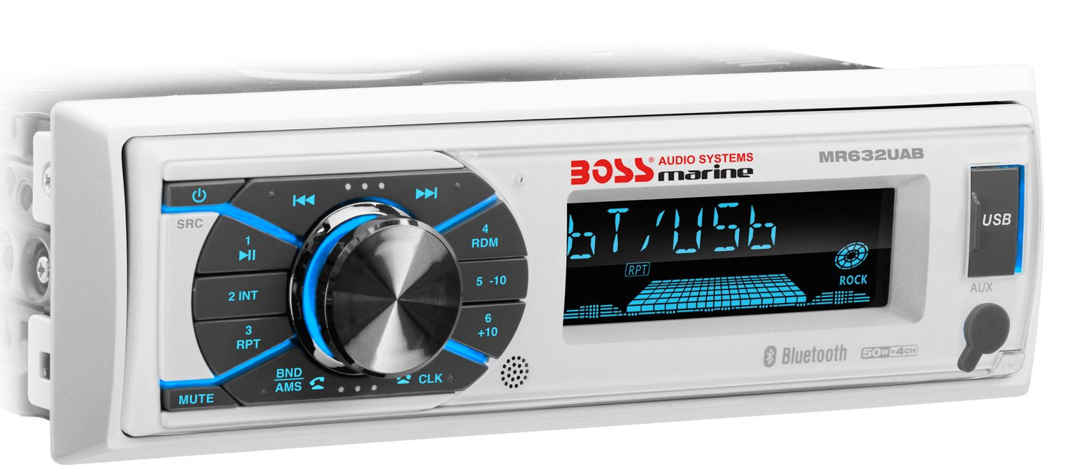 BOSS MR1308UABK Marine Boat 1 Din Mechless MP3 AM//FM Bluetooth Stereo Player