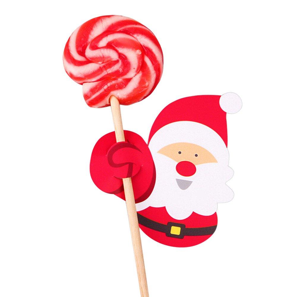 Hide on bush 50x Santa Claus Penguin Lollipop Christmas Pretty Card Lolly Sugar-loaf Xmas Party Creativity Toys (A)