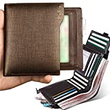 Pabin Genuine Leather Wallets for men Removable ID Case Coin Purse Zipper Vertical(Gold Brush)