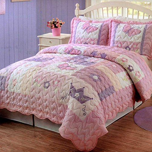 Pem America Princess Twin Quilt Set in Pink and White