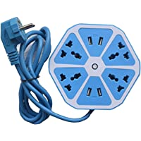 Heavy Duty Hexagon Electrical Extension Cord Power Socket with 4 USB Port for Computer with 2 Meter Wire 4 Socket Surge Protector Spike Strip Guard Extension Board(Multicolour) by Tech-X