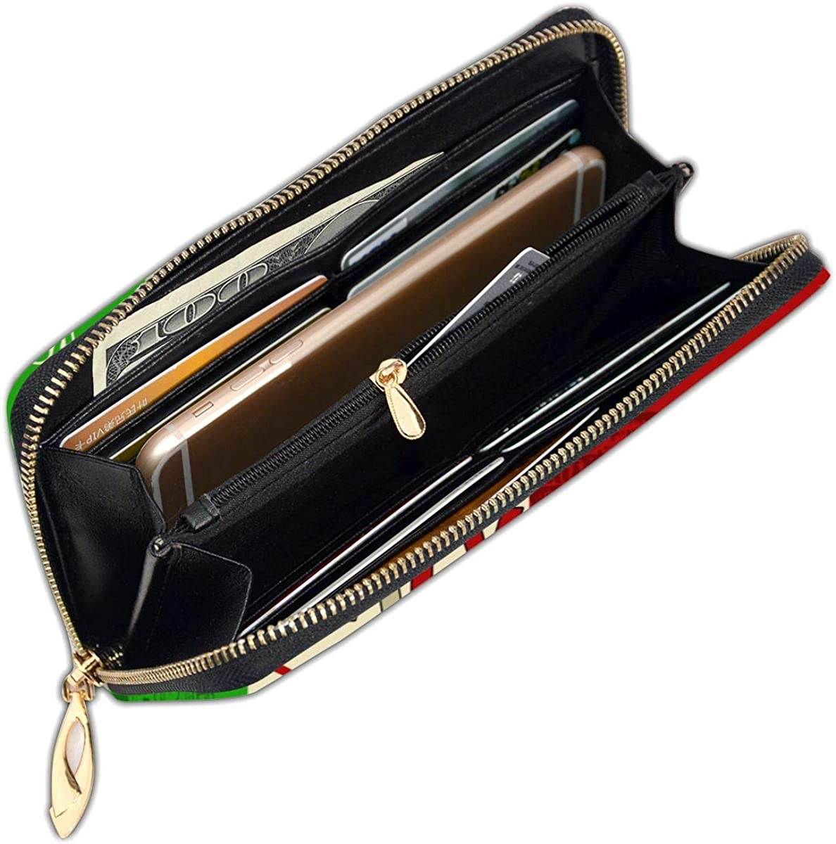Italy Pizza Womens Genuine Leather Wallet Zip Around Wallet Clutch Wallet Coin Purse