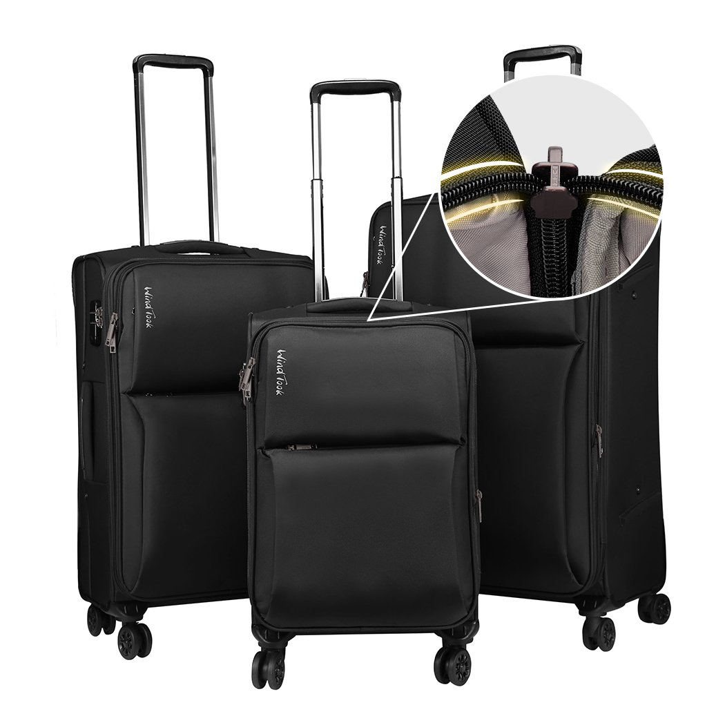 Windtook 3 Piece Luggage Sets Expandable Spinner Suitcase Bag for Travel and Business (8039-Black-YKK)