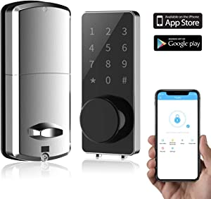 Smart Lock Front Door, Keyless Entry Door Lock Deadbolt, Digital Electronic Bluetooth Door Lock with Keypad Auto Lock for Home Hotel Apartment Office (Sliver)