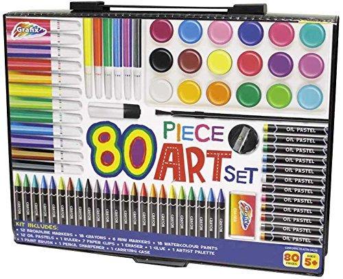 80 Piece Children's Art Set & Gift Case Paints Crayons Pastels Pens Grafix RMS