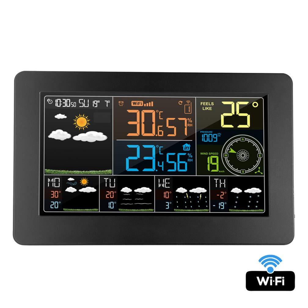 Wifi Temp/érature ext/érieure int/érieure Humidit/é Pression Pr/évisions m/ét/éo du vent avec /écran LCD Station m/ét/éo sans fil avec capteur ext/érieur R/éveil mural Station m/&eacu