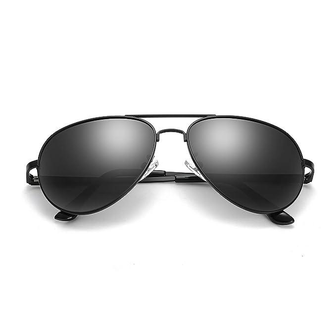 SODQW Gafas de Sol Hombre Aviador Polarizadas Clásico Metal Para Protección 100% UVA/UVB (Negro/Lente Polarizada Gris (sin espejo)): Amazon.es: Ropa y ...