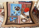 NAUGHTYBOSS Baby Bedding Set Cotton 3D Embroidery Baseball Football Sports Equipment Pattern Quilt Bumper Bed Skirt Mattress Cover 7 Pieces Set Blue Patchwork