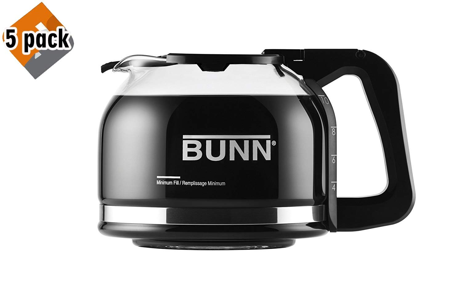 BUNN Pour-O-Matic 10-Cup Drip Free Carafe, Black - 5 Pack