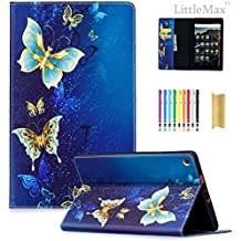 """LittleMax Magnetic Closure Flip Soft Gel Protective Case with Card Slot for HD 8"""" 7th Gen 2017 Release - 01 Blue Gold Butterfly"""