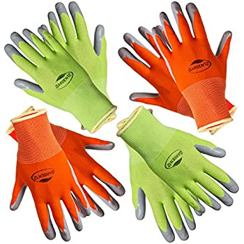 Garden12 Working Gloves For Women. (4 Pairs Per Package) Comfortable Gardening  Gloves Medium