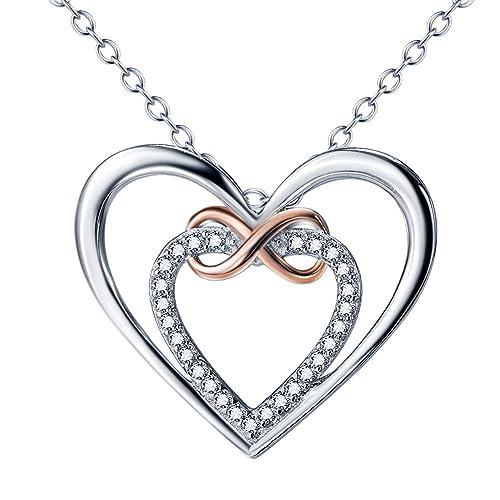 925 Sterling Silber Zirkonia Gold Unendlichkeit Herz Anhänger Halskette Schmuck