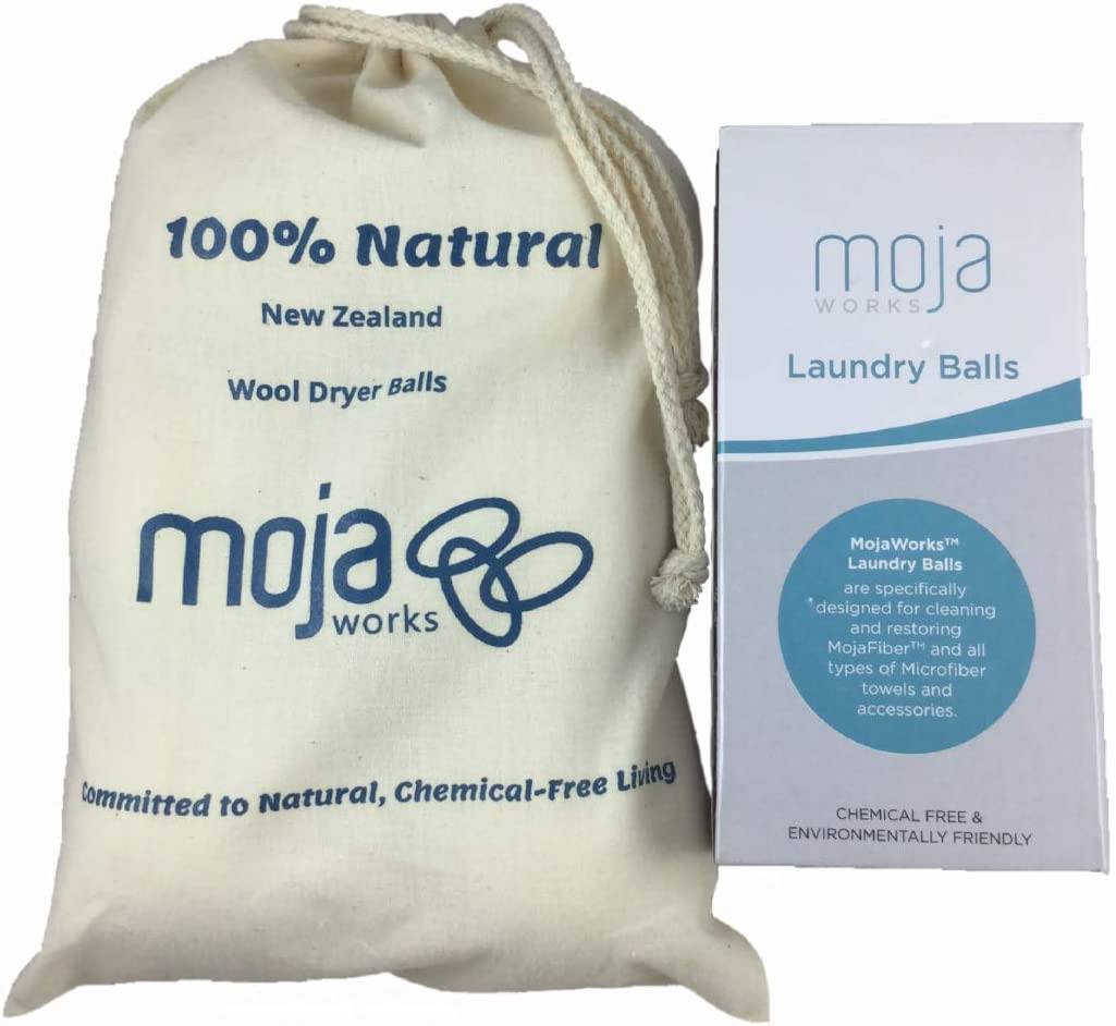Mojaworks Laundry Combo - 100% Natural Scent-Free Detergent Premium Quality, Eco-Friendly Chemical-Free Living - Can Use up to 1000+ Times - 2 Washer Balls and 6 Wool Dryer Balls (Multicolor)