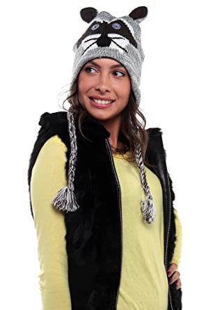 5f06c4e1ddc Image Unavailable. Image not available for. Color  New Women s Animal Face Knit  Hat with Ear Flaps ...
