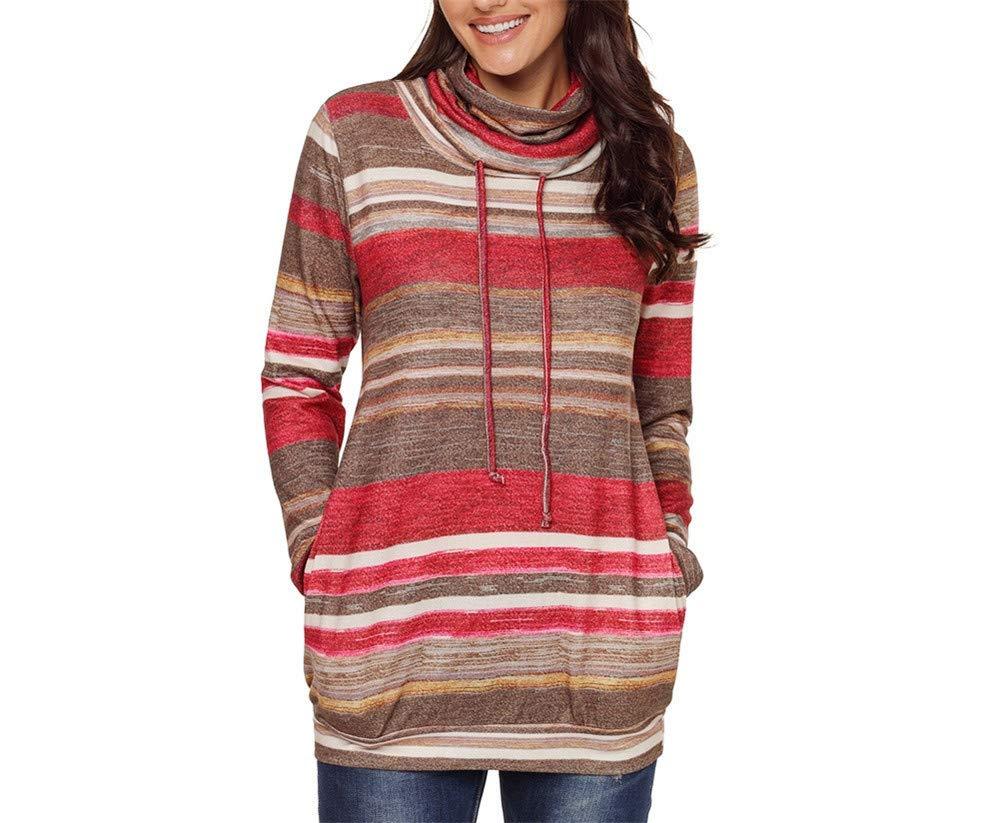 Stripe Hoodie/Hoodies Women/Pullover Hoodies/Adjustable Drawstring Hoodies/high Neckline/Autumn Long Sweatshirts/Loose Clothing/Long Sleeve Garment