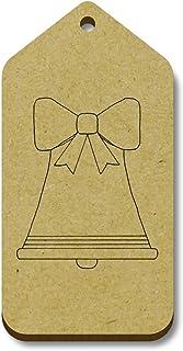 Azeeda 10 x 'Bell de Noël' etiquettes de Bagage / Cadeau en Bois (TG00006687)