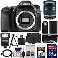 Canon EOS 80D Wi-Fi Digital SLR Camera Body with 18-200mm IS Lens + 64GB Card + Battery + Case + Flash + Tripod + Kit Overview Review Image