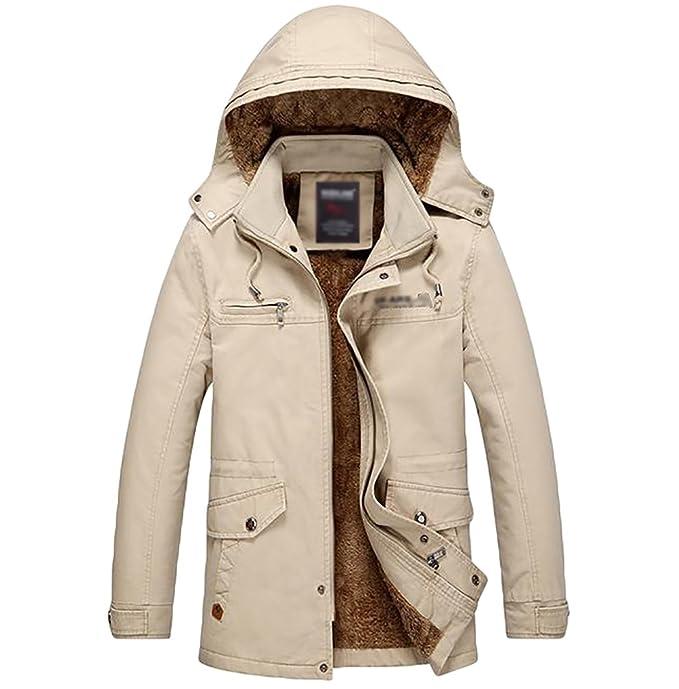 ZKOO Hombre Espesa Chaquetas de Invierno Anorak Abrigos con Caliente Forrada Trench Coat con Desmontable Capucha: Amazon.es: Ropa y accesorios
