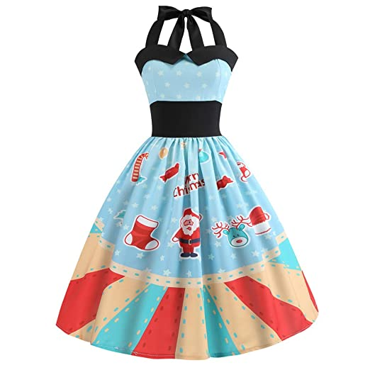 Women Vintage Christmas Printed Halter Evening Party Prom Dress(Blue,Asian