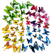 Wall Decal Butterfly, Topixdeals 48 PCS 3D Butterfly Stickers with Sponge Gum and Pins, Removable Wall Sticker Decals for Room Home Nursery Decor