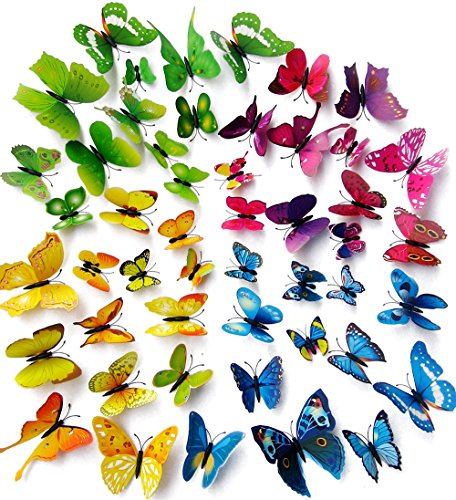 Wall Decal Butterfly, Topixdeals 48 PCS 3D Butterfly Stickers with Sponge Gum and Pins, Removable Wall Sticker Decals for Room Home Nursery Decor (Wall Removable Sticker)