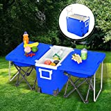Hello22 Rolling Cooler Picnic Table Multi Function for Picnic Fishing Portable Storage Food Beverage Included Foldable Table with 2 Chairs Camping Trip Cooler (Blue)