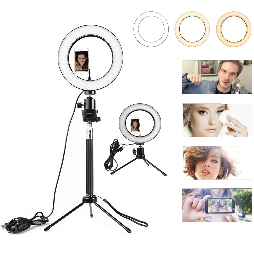 LED Ring Light, Sinbadteck Dimmable Camera LED Ringlight w Phone Holder Tripod Stand for Live Stream/Makeup, YouTube Video Photography 10.2''/26CM (Black)