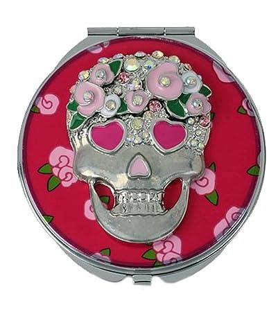Amazon betsey johnson silver tone pink flower skull compact betsey johnson silver tone pink flower skull compact mirror mightylinksfo