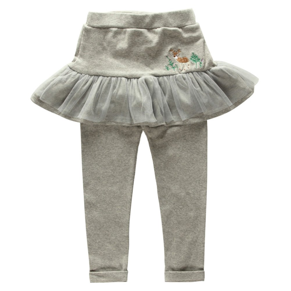 Coodebear Girls' Cotton Culottes Deer Pattern Skirts Pants Pink Size 8