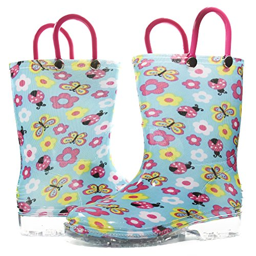Sara Z Toddler Girls Printed High Cut Puddle Proof Rain Boots Floral Blue Size 11/12