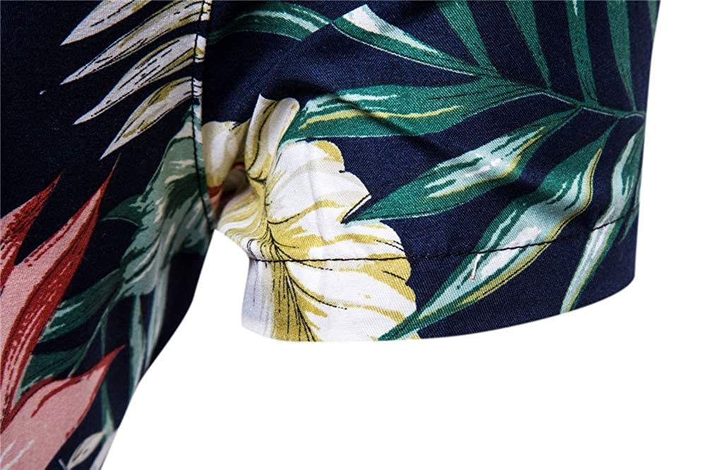 Linson123 Mens Shirt Short Sleeve Casual Slim Print Shirt Fashion Hawaii Beach Shirt