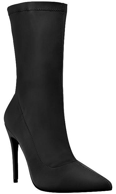 da donna nuove tacco a spillo alto a Punta da infilare stretch lycra Calze stivaletti scarpe taglia