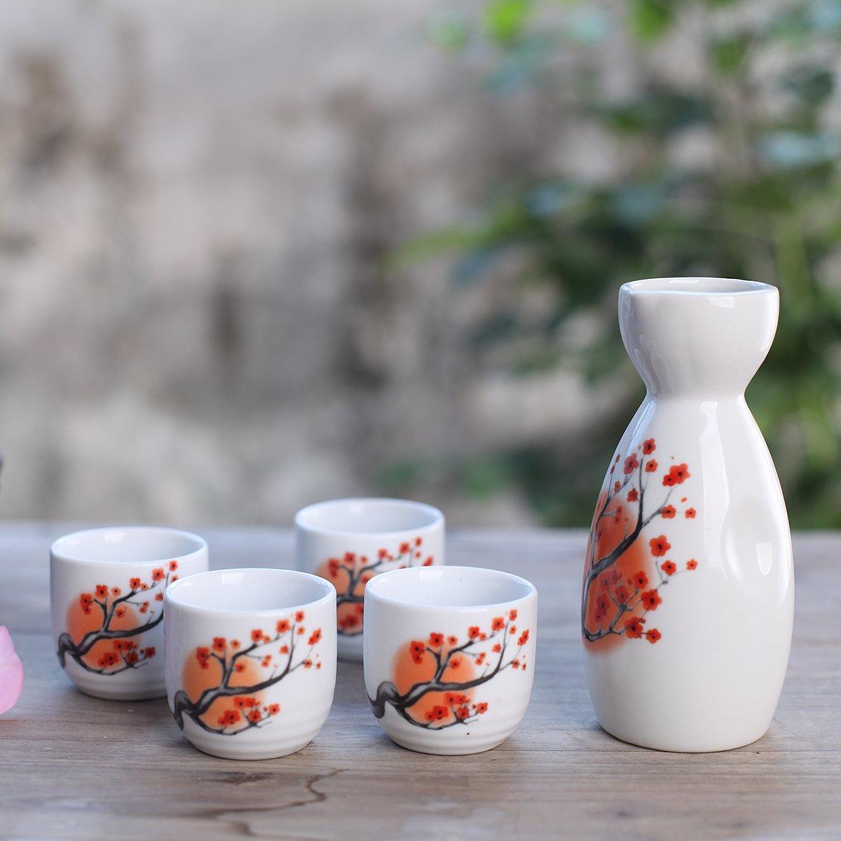 Tosnail 5 pcs Ceramic Japanese Sake Set - Orange Blossom by Tosnail (Image #7)
