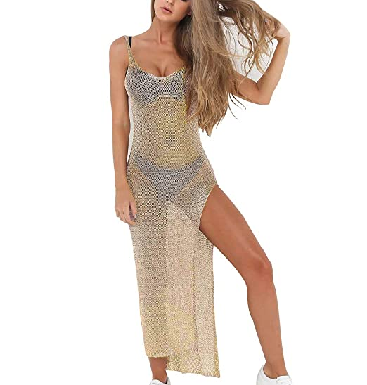 065a1d21d9 AMAZLA Women's Bathing Suit Cover Up Summer Beach Bikini Swimsuit Short  Sleeve See Through Sheer Mesh Cover Dress V-Neck: Amazon.ca: Clothing &  Accessories
