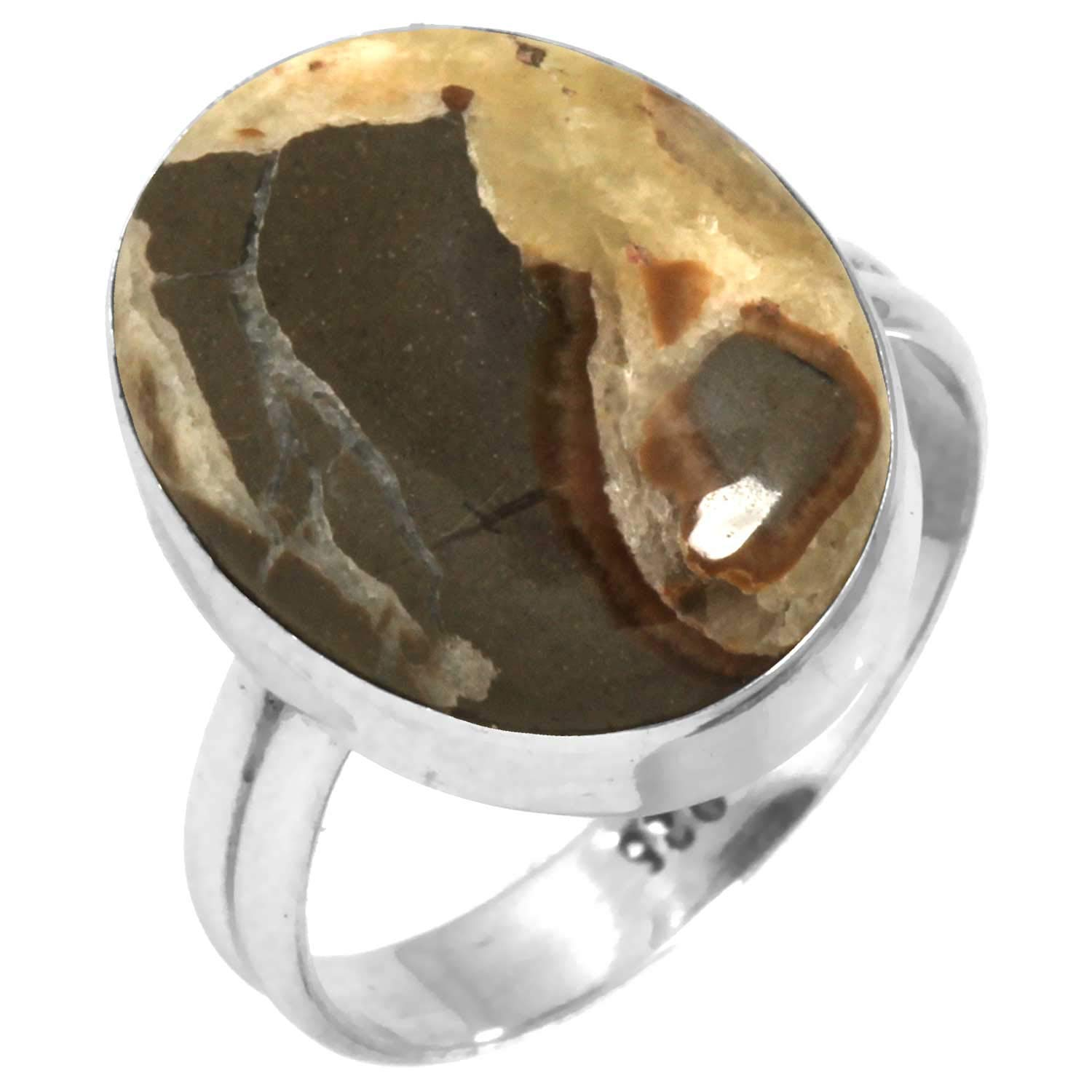 Solid 925 Sterling Silver Modern Jewelry Natural Yellow Septarian Gemstone Ring Size 9