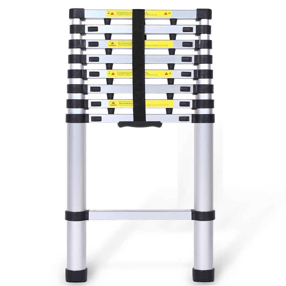 TOTALPACK Aluminum 12.5ft Telescoping Ladder With Safety Blockers & Carry Bag – Foldable Lightweight Step Ladder With Finger Protectors & Rubber Non-Slip Pads, Perfect For Professional & Home Projects