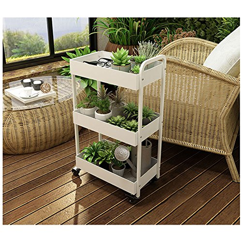 Yontree 3-Tier Kitchen Baker's Rack Utility Storage Trolley Rolling Cart Laundry Cart Flowerpot Shelf Gap storage Rack Moveable Bookcase for Kids White 17.7x11x33 In. by Yontree