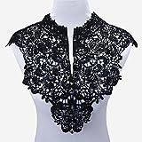 Smiry 2Pc Venise Black Lace Collar Applique