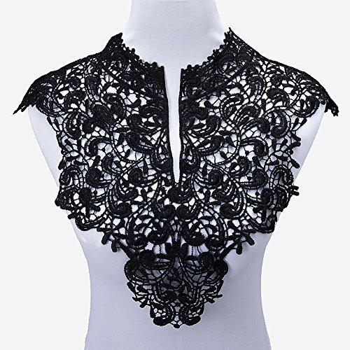 Smiry 2Pc Venise Black Lace Collar Applique Polyester Neckline White Lace Trims Craft Bridal Accessories DIY