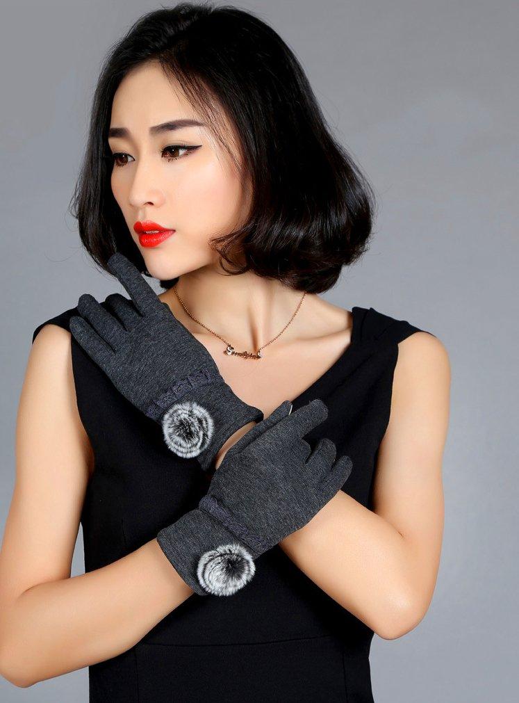 Nouveaux Gants Chauds de Femmes Mode féminine Extérieure Ecran Tactile Sports d\'hiver de plein air Gants Pompon Elégant Dentelle - Gris