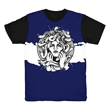 fe6bfa9d397 Blue Snakeskin 11 Medusa Waves Shirt to Match Jordan 11 Blue Snakeskin  Sneakers (Small)