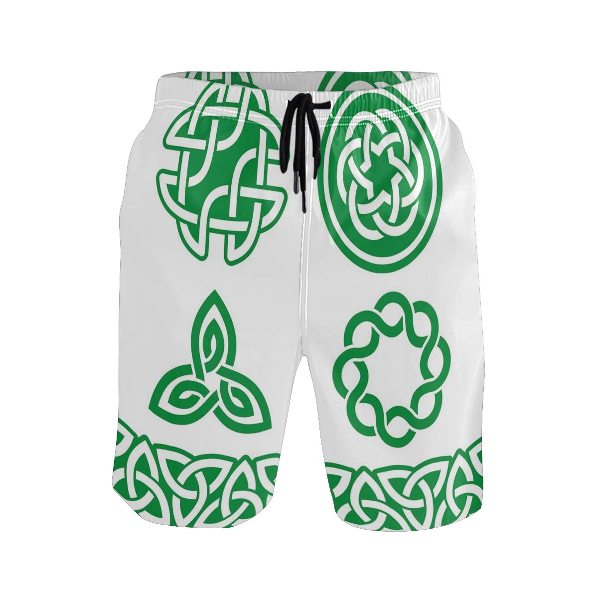 COVASA Mens Summer ShortsMedieval Ancient Knots Symbols Braided Design Religio