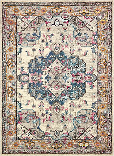 Unique Loom Medici Collection Light Colors Medallion Traditional Beige Area Rug (9' 0 x 12' 0)