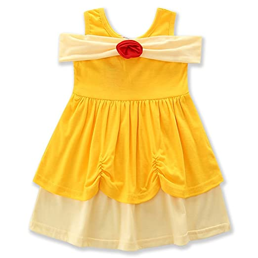 d9ab5af67d Samgami Baby Girl Cotton Sleeveless Strapless Dresses Baby Yellow Dress  Kids Clothing Flower (Tag: