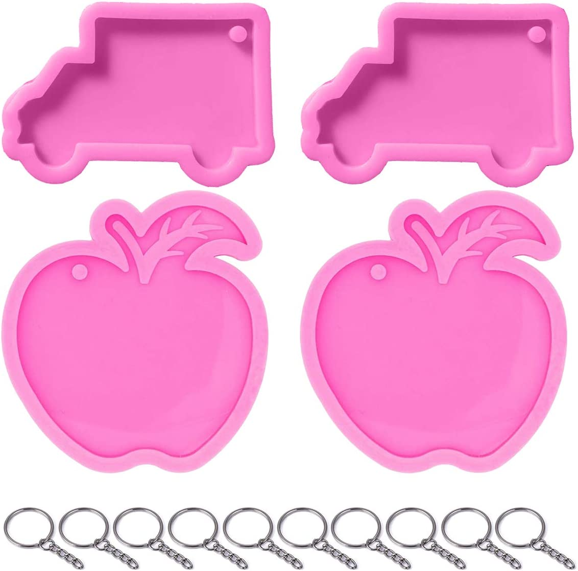 4 Packs Silicone Keychain Molds Apple Fruit Shaped Tag And 2 Packs School Bus Shaped Keychain Molds And 10 Pieces Key Rings with Chain Christmas Mold (school bus)